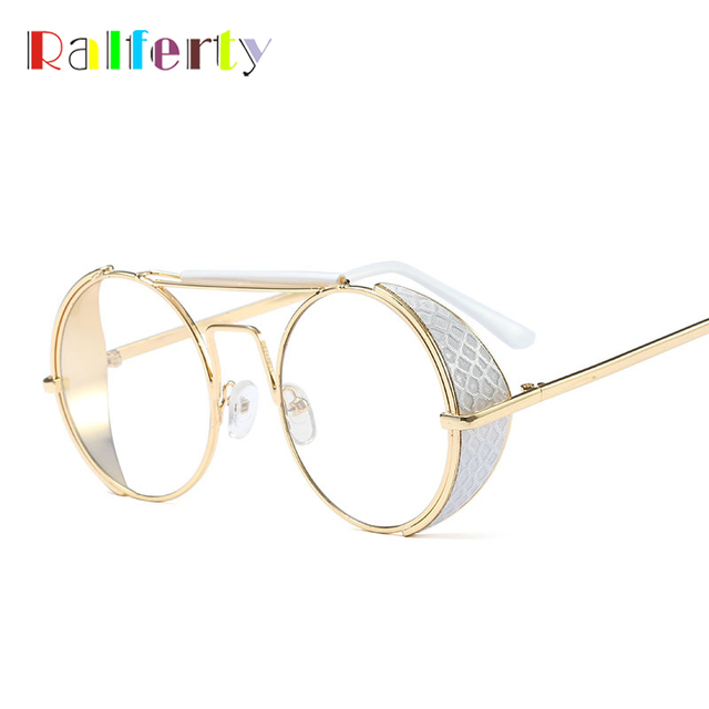 a7d16bbb60 Ralferty Steampunk Goggles Vintage Round Glasses Frame Retro Clear Glasses  Punk Eyeglasses Frame Gold White Eyewear Oculos F5881