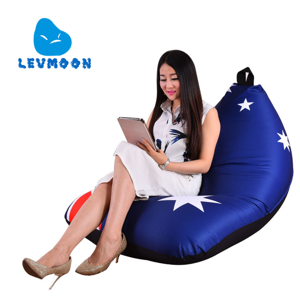 LEVMOON Beanbag Sofa Chair Australia Flag Seat Zac Bean Bag Bed Cover Without Filling Indoor Beanbags