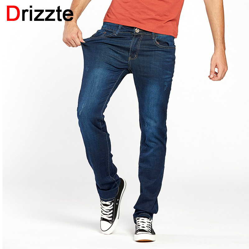 Drizzte Summer Men Blue Jeans Straight High Quality Slim Pants Denim Long Length Stretch For Business Commuting Men's Jean drizzte men s jeans classic stretch blue denim business dress straight slim jeans size 34 35 36 38 pants trousers jean for men