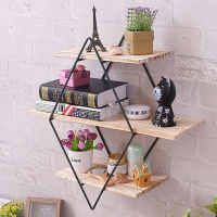 Bedroom Office Home Decoration Vintage Iron Metal Wood Wall Storage Shelf Rack Rhombus Wood Iron Craft Wall Book Hanging Rack