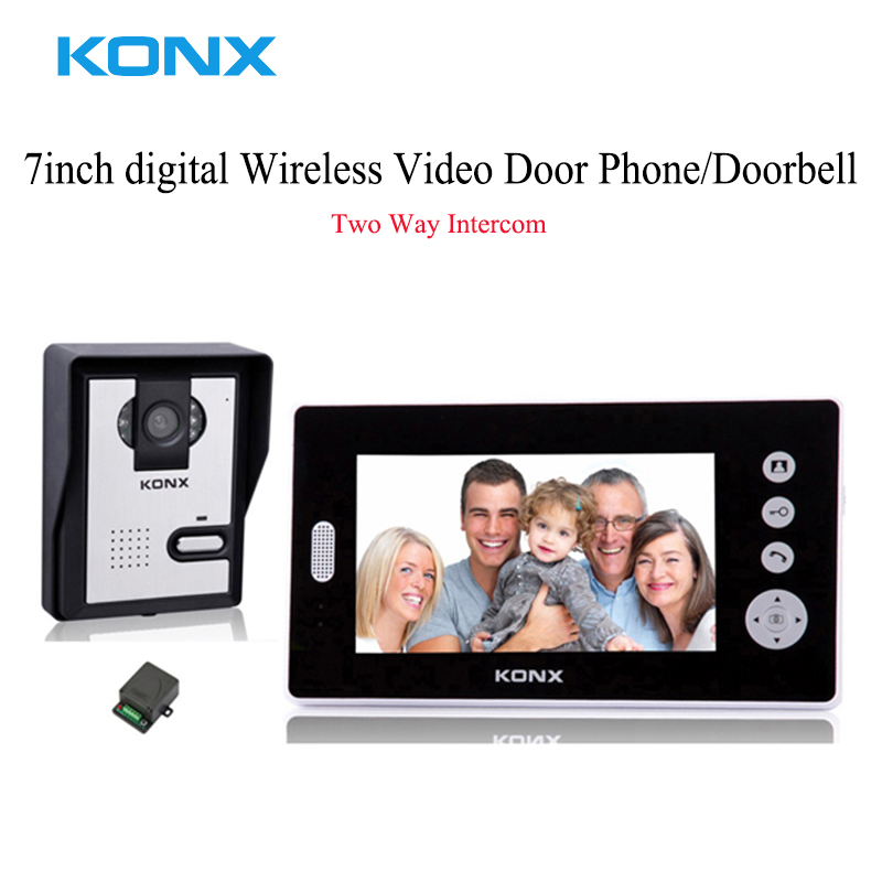 7 Inch Digital Wireless Unlock Doorbell Two Way Intercom Video Door Phone System, Smart IR Night Vision Doorbell Viewer For Home d114b smart home 1v2 wireless intercom one to two video door phone 2 4g digital pir detection video door peephole camera