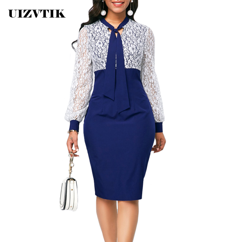 White Lace Summer Autumn Dress Women 2019 Casual Plus Size Slim Office Bodycon Dresses Elegant Sexy Long Sleeve Party Dress 5XL