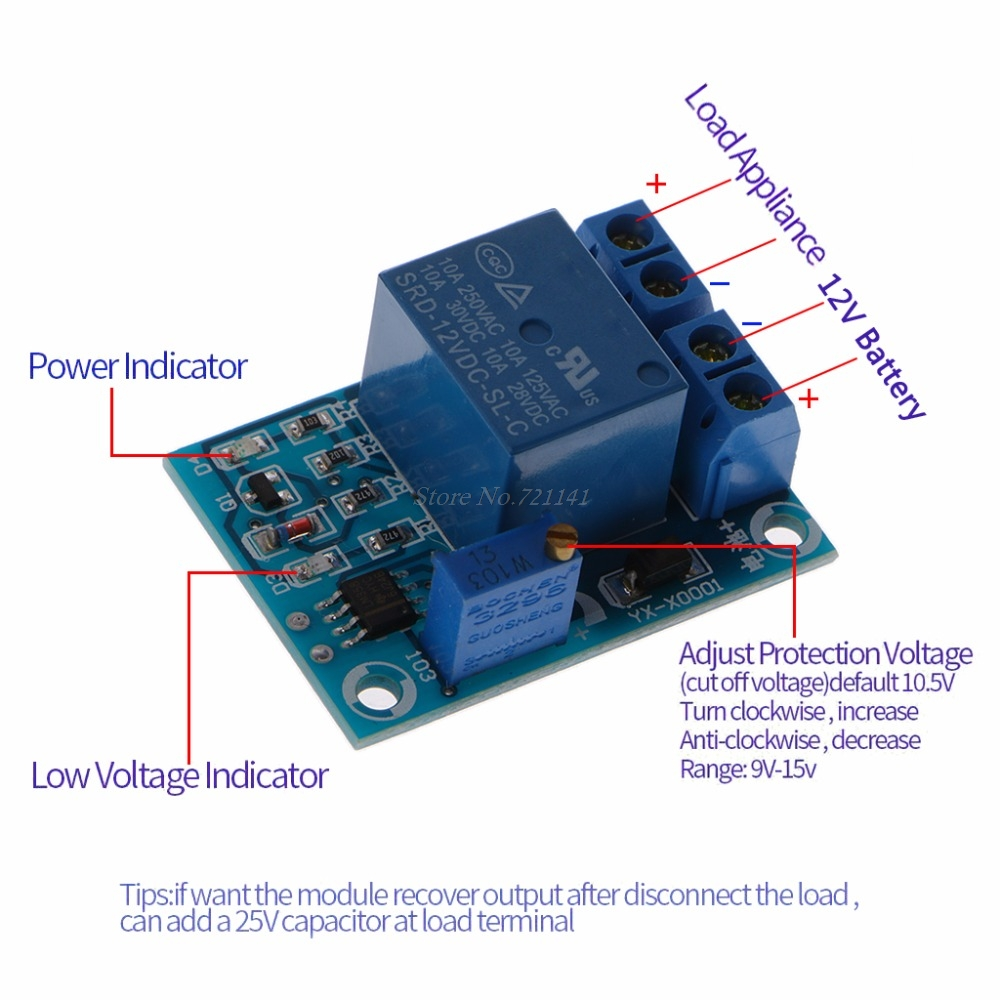 US $2 27 27% OFF DC 12V Battery Low Voltage Cut Off Switch Controler  Excessive Protection Module IS Integrated Circuits-in Integrated Circuits  from