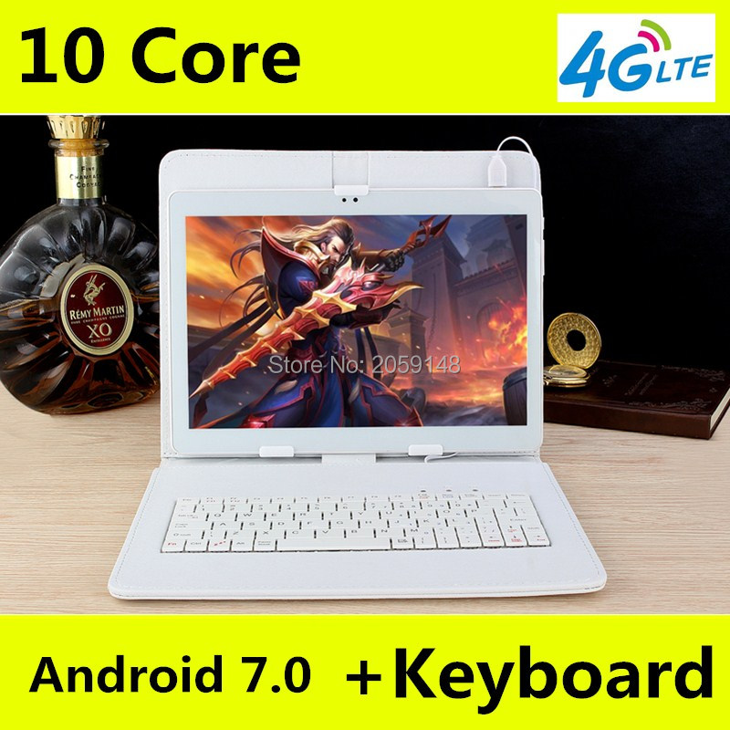 2017 New 10 inch 4G LTE Tablets Deca Core Android 7.0 RAM 4GB ROM 128GB Dual SIM Cards 1920*1200 IPS  10.1 inch Tablet PCs+Gifs bben windows 10 tablet pcs 11 6 in tel i5 dual core 4gb 128gb ips 1366 768 wifi tablets 4g lte 2 in 1 pc computer