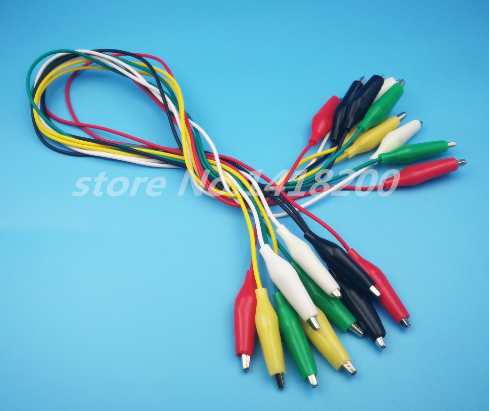 50Pair 5-Colors Double Ended Cable Battery Alligator Testing Cord Clip To Banana Clamp Test Leads Lead Jumper Wire 50cm 1pcs yt191 high voltage 4 mm banana plug test lead cable wire 100 cm for multimeter the probes gun type banana plugs