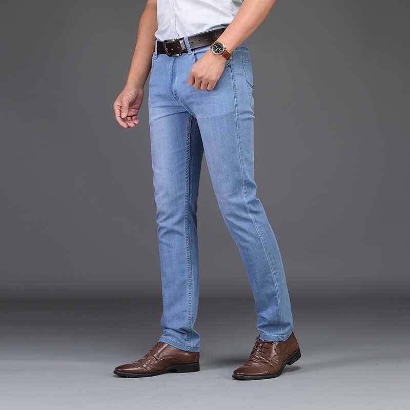 Pantalones vaqueros de Primavera Verano 2019 para hombre, pantalones vaqueros de Jean para hombre ajustados de talla grande a 40, pantalones vaqueros de vestir finos para hombre grandes y altos