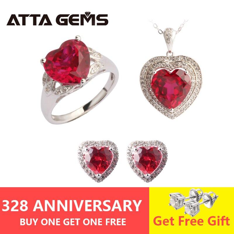 Ruby Sterling Argent parure de bijoux Femmes bijoux de mariage Créé Ruby pendentif anneau; boucle d'oreille goujon Romantique bijoux fins Classique