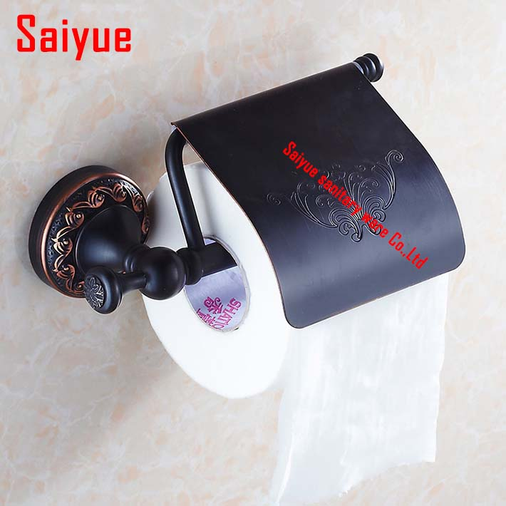New Style Vintage Oil-rubbed Bronze Bathroom Toilet Paper Holder With Cover Wall Mounted Black Tissue Holder oil rubbed bronze toilet paper holder wall mount tissue box