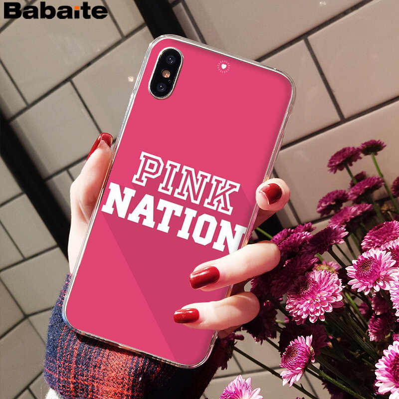 Babaite Cinta Merah Muda Dunia Merah Muda Mewah Unik Desain Penutup Telepon untuk iPhone 6S 6 Plus 7 7 Plus 8 8Plus X XS Max 5 5S XR