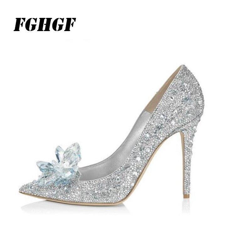 Cinderella Crystal Shoes Silver Rhinestone Wedding Shoes