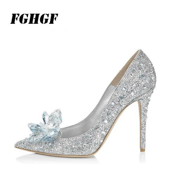 639e49d082 US $29.9 |Cinderella crystal shoes silver rhinestone wedding shoes bride  shoes pointed toes stiletto wedding dress shoes-in Women's Pumps from Shoes  ...