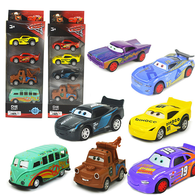 Disney Pixar Cars 3 1:55 McQueen Cruz Ramirez Mater Diecast Metal Alloy Model Toy Cars Pixar Cars 3 Mini Toys For Kids 4Pcs/Set