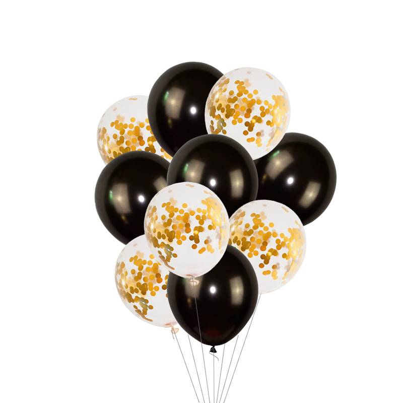 Black Gold Happy Birthday Banner Balloons With Helium Number Foil Balloon for Baby Party Decorations 13