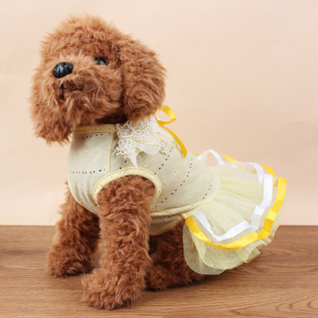 New casual Dog Dress Pet Dog Clothes Spring and summer models dog clothes pearl ribbon petal collar pet skirt for small dogs