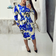 GOPUAMO Zip Up Floral Print Women Bodycon Dress Round Neck Long Sleeve Belt Slim Women Sexy Dress Spring Fashion Robe Femme 2019 round neck long sleeve bodycon dress