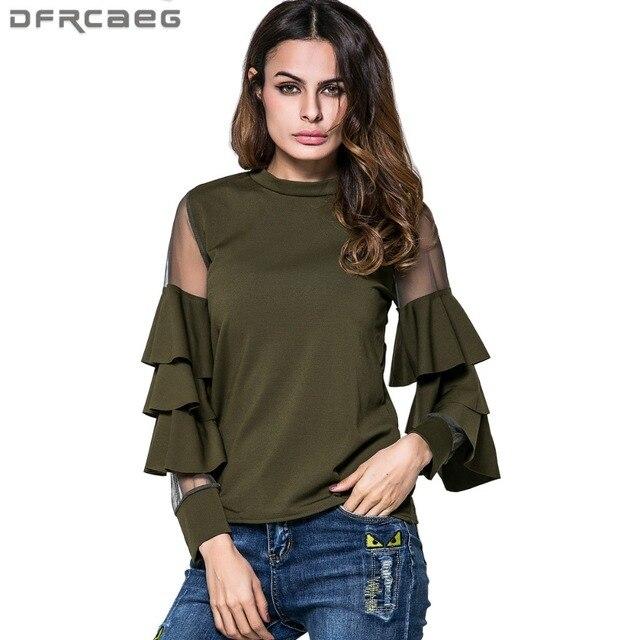 916c27a7e5817b Femme coton Blouses lâche Patchwork maille chemise vêtements mode 2018  printemps Flare manches Blusa armée vert