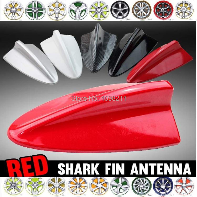 Red DUMMY ANTENNA SHARK FIN STYLing Roof Exterior CAR DECORATION AERIAL Body Kit Adhesive Tape