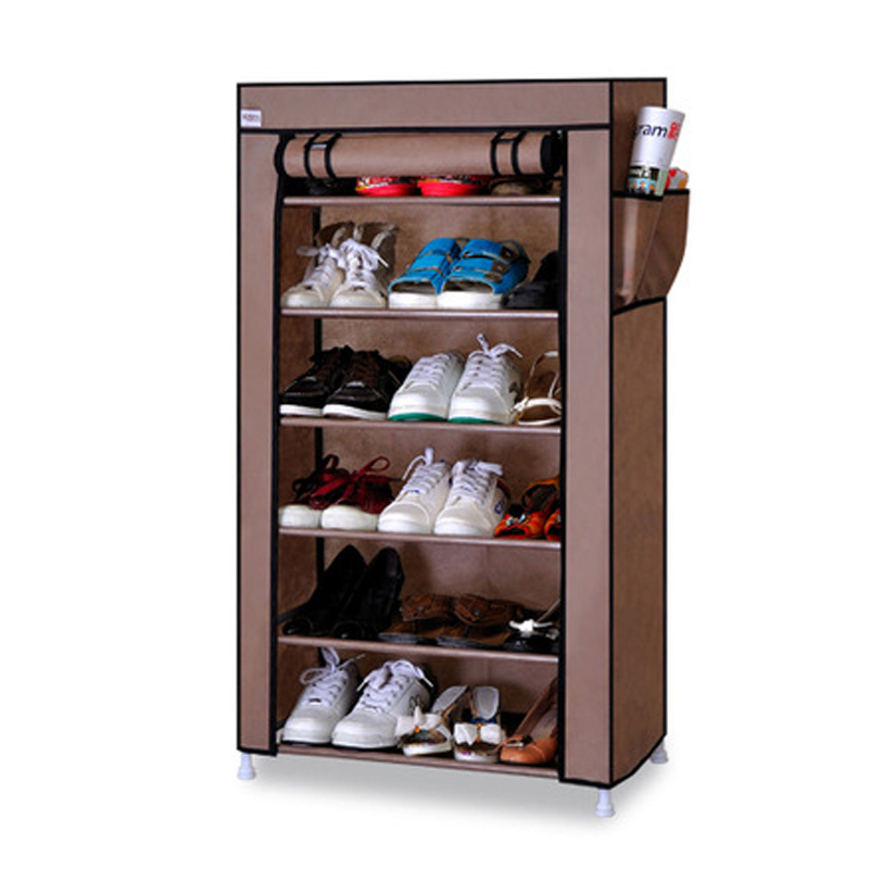 On Sale Seven Layers Six Grids Non-woven Cloth Shoes Cabinet Creative DIY Dust-proof Storage Shoes Rack Shoes Organizer Shelf