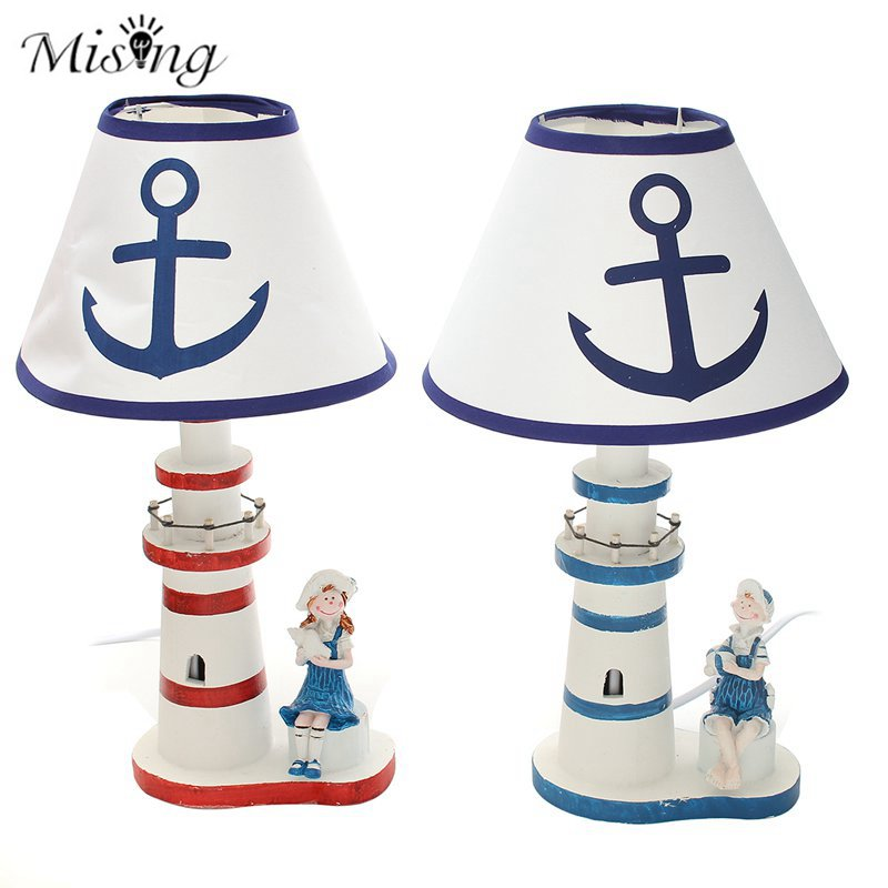 Mising Mediterranean Style Table Lamp Natural Bamboo Wood Lighthouse Desk Lamp Hand Painted Bedroom Study Home Decoration