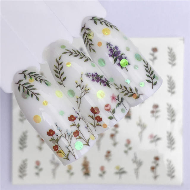 Plum blossom 1 Sheet Water Transfer Nail Sticker Decals Fruit Cream Cake Cat Beauty Decoration Designs DIY Color Tattoo Tip
