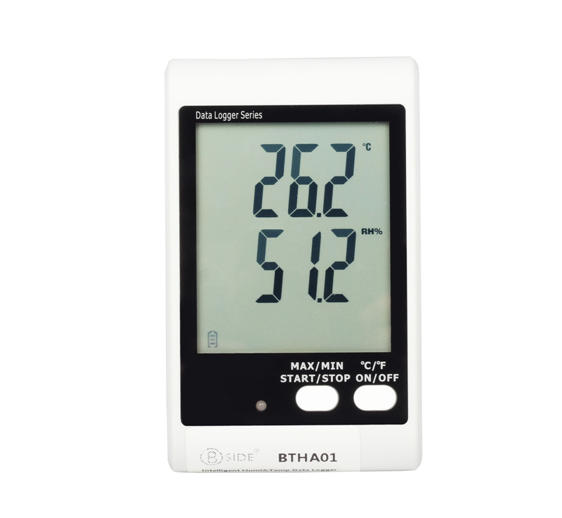 BSIDE BTHA01 Temperature Humidity Data Logger USB w/ Built-in Probe Sound-Light Alarm Large Display Thermometer Hygrometer handheld professional humidity and temperature sd data logger with built in internal