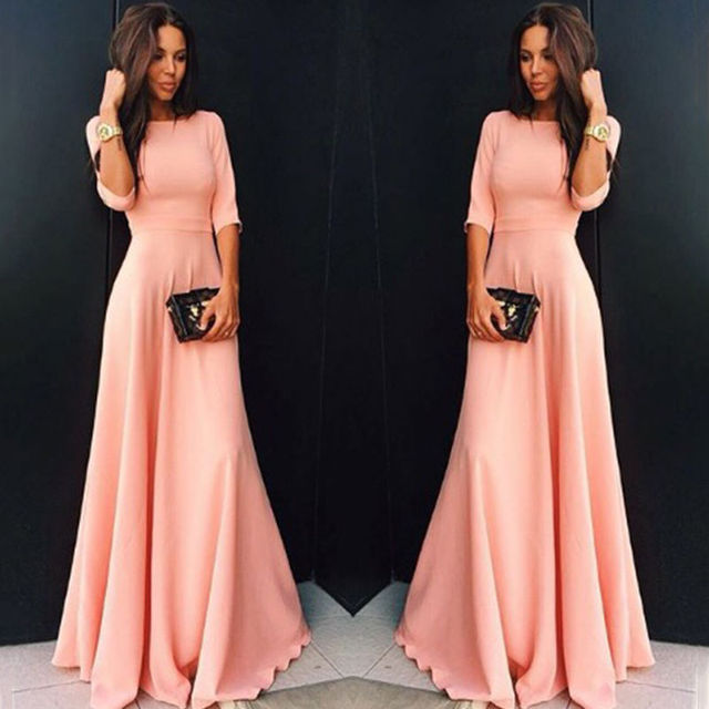 Womens Long Chiffon 3/4 Sleeve Evening Formal Party Maxi Dress