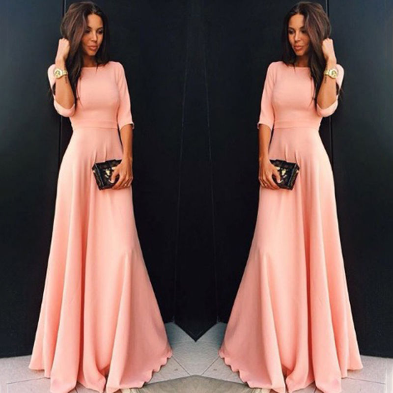 Womens Long Chiffon 3/4 Sleeve Evening Formal Party Maxi Dresses Fashion Elegant Female Wedding Dress Dropship Hirigin
