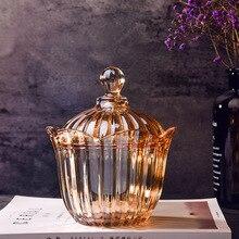 Big Golden amber crystal glass fruit bowl candy jar with lid transparent storage tank box small sugar cylinder
