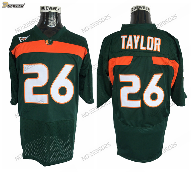 4667aa0a4 ... best price dueweer mens vintage miami hurricanes sean taylor college  football jerseys cheap green 26 sean