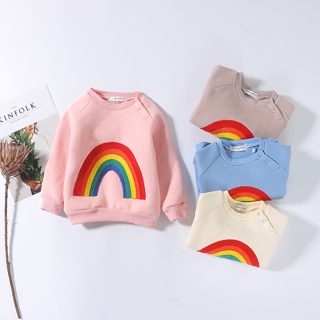 17e3b6c62320 Infant Kids Boys T Shirt Autumn Winter Casual Rainbow Hoodies ...