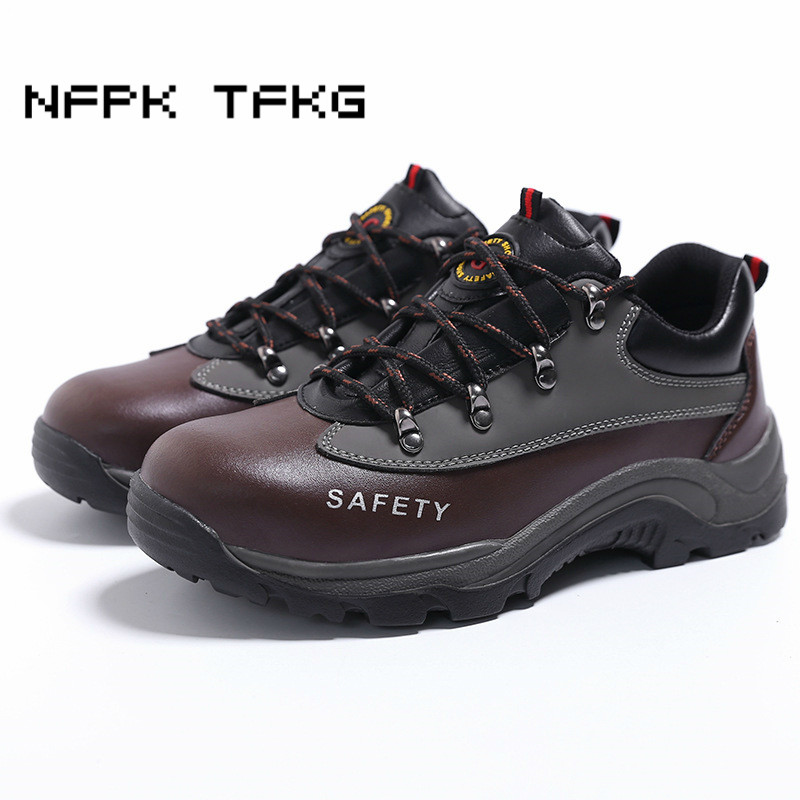 men fashion large size steel toe caps working safety shoes anti-pierce genuine leather security ankle boots protective footwear halinfer large size 45 46 men fashion breathable mesh steel toe caps work safety shoes with anti pierce protective footwear