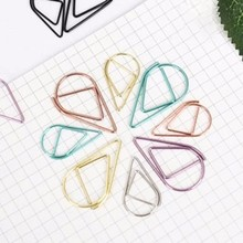 50pcs Metal Material Drop Shape Paper Clips Gold Silver Color Funny Kawaii Bookmark Office Shool Stationery