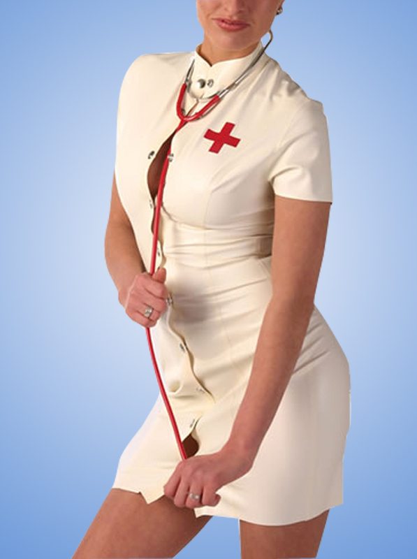 White Nurse Costume with Front Button Fly Latex Dress Women's Latex Rubber Tight Skirts With <font><b>Cap</b></font> <font><b>sexy</b></font> Cosplay costumes image