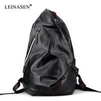 Brand Mens soft pu Leather Backpack For Travel Casual Men Daypacks Leather Travle Backpack mochila Black School Backpacks