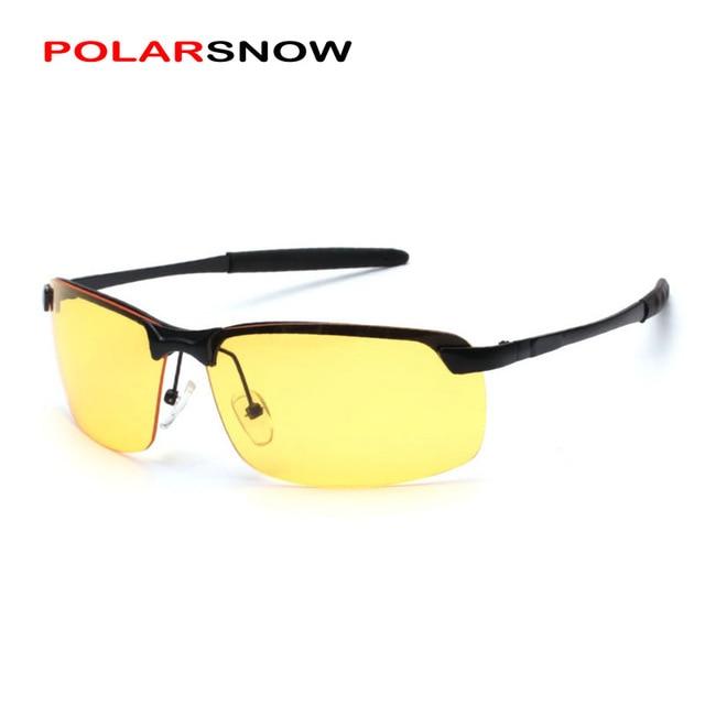 9d5749692b Nouveau nuit conduite lunettes demi cadre résine jaune lentille Oculos hommes  Vision nocturne verre polarisé Anti