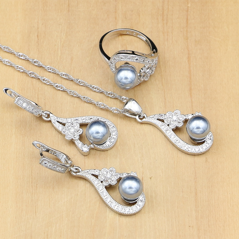 Schmuck & Zubehör Schwarz Perlen Perle 925 Silber Braut Schmuck Sets Mit Weiß Blumen Zirkon Für Frauen Ohrringe/anhänger/ring /halskette Set