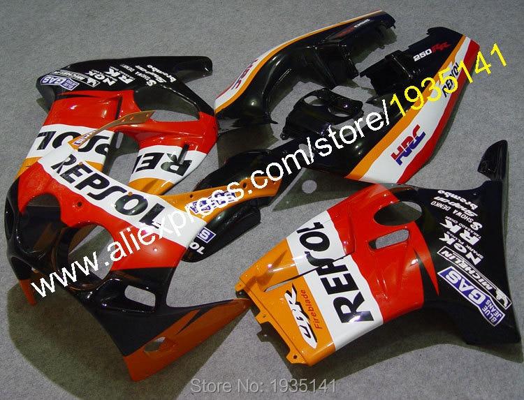 Горячие продаж,для Honda CBR250R CBR250RR MC19 1988-1989 ЦБ РФ 250 рублей 88 89 компания Repsol послепродажного мотоциклов Обтекателя (литья под давлением)