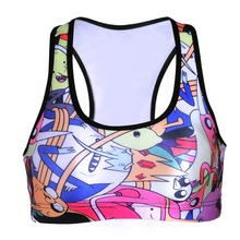 NEW 0038 Summer Sexy Girl Women comics Adventure Time 3D Prints Padded Push Up Gym Vest Top Chest Running Sport Yoga Bras