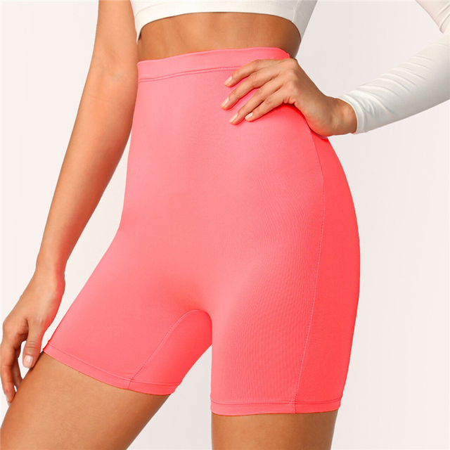 SHEIN Solid Cycling High Waist Leggings Women 2019 Athleisure Crop Fitness Leggings Summer Ladies Casual Workout Leggings 5
