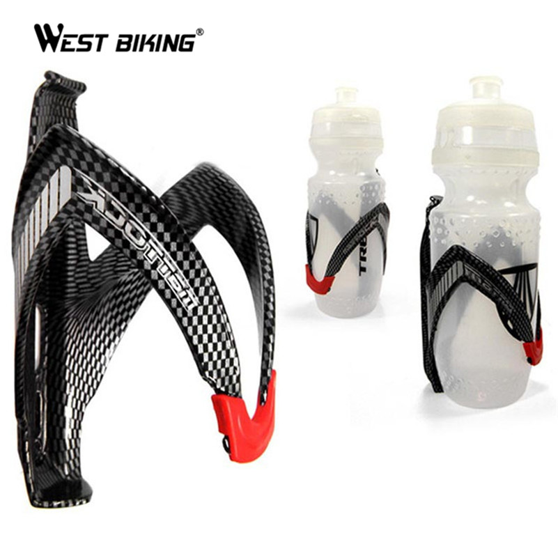 WEST BIKING MTB Bicycle Cycling Carbon Fibre Color Mountain Road Bike Water Bottle Holder Cages Outdoor Cycling Water Bottles 750ml 1000ml bicycle water bottle mountain bike city bike outdoor cycling water bottle with holder cycling accessories