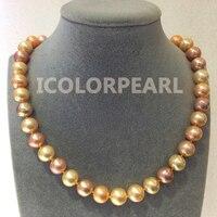 WEICOLOR Nice 11 12 мм идеально круглый блестящий многоцветный Розовый натуральный пресноводный жемчуг ожерелье. Хороший подарок для дам!