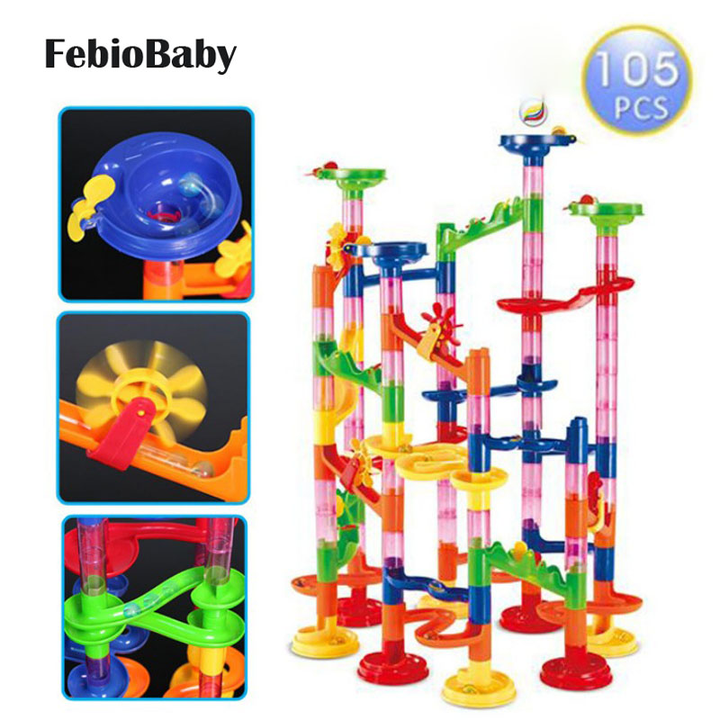 Kids 105pcs Marble Track Run Race Construction Building Blocks Set Game Toy