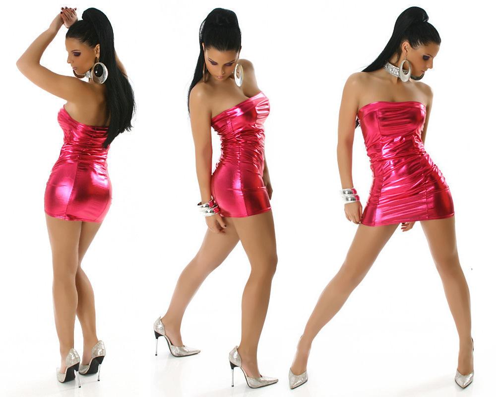 b9904c1e8d539e Fashion Vrouwen Shiny Metallic Mini Jurk Wetlook Strapless Potlood Jurken  Dames Schede Vestidos Party Dancing Queen Jurk in Fashion Vrouwen Shiny  Metallic ...