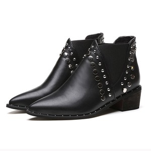Image 5 - Cuculus PU Leather Ankle Boots For Women 2020 Autumn New Rivet Pointed Toe Rubber Shoes Black Wedges Boots Women 35 39 1423