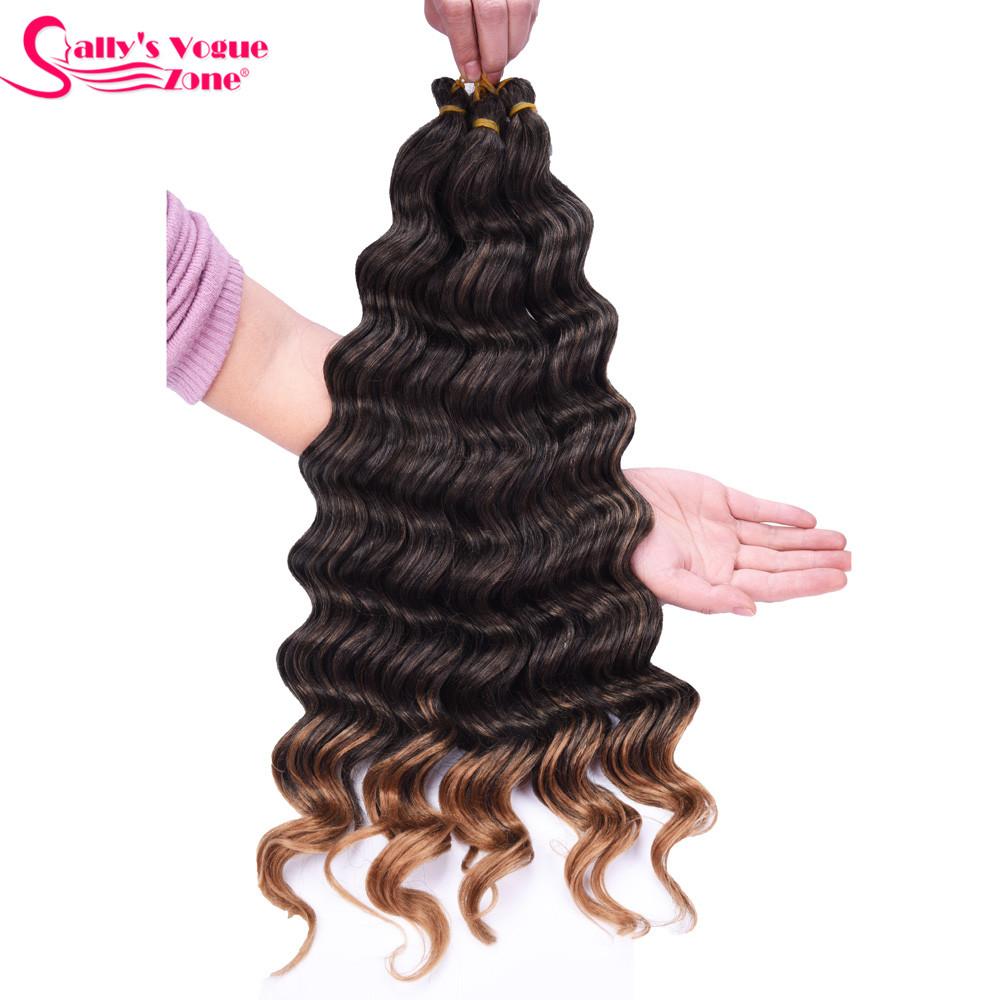 Sallyhair High Temperature Synthetic Deep Wave Twist Crochet Braids Black Color Bulk Hair Extension  (24)