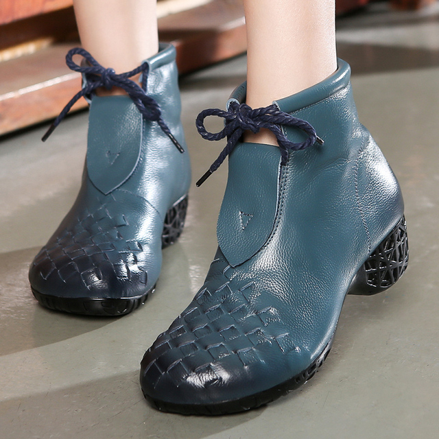 Soft Genuine Leather Ankle Boots for Women