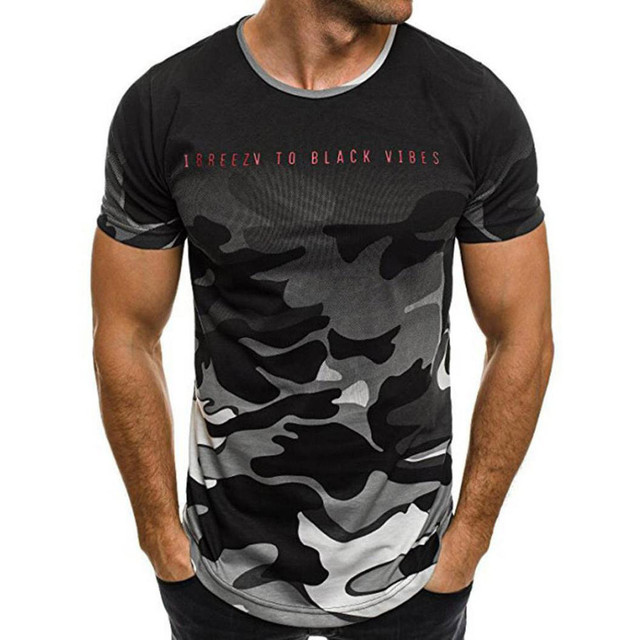 LNCDIS T Shirt Men T-Shirt Personality Camouflage Male Tops Casual Slim Short-sleeved Top A1