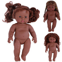 2018 Fashion Black Girl Dolls African American Dolls Lifelike 12 inch Movable Joint Play Doll Gifts menina de silicone doll Z*(China)