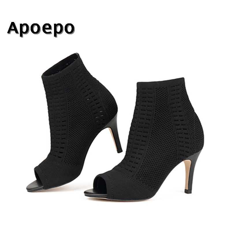 Apoepo New fashion stretch fabric ankle boots 2018 sexy open toe elastic knitted high heel boots woman cutouts short boots