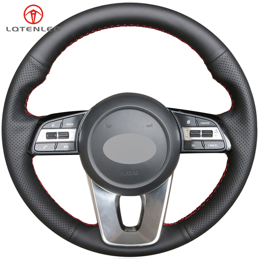 LQTENLEO Black Genuine Leather Steering Wheel Cover For Kia K5 Optima 2018 2019 Sportage 3 2017 2019 Forte Ceed Cee'd 2017 2019-in Steering Covers from Automobiles & Motorcycles    1